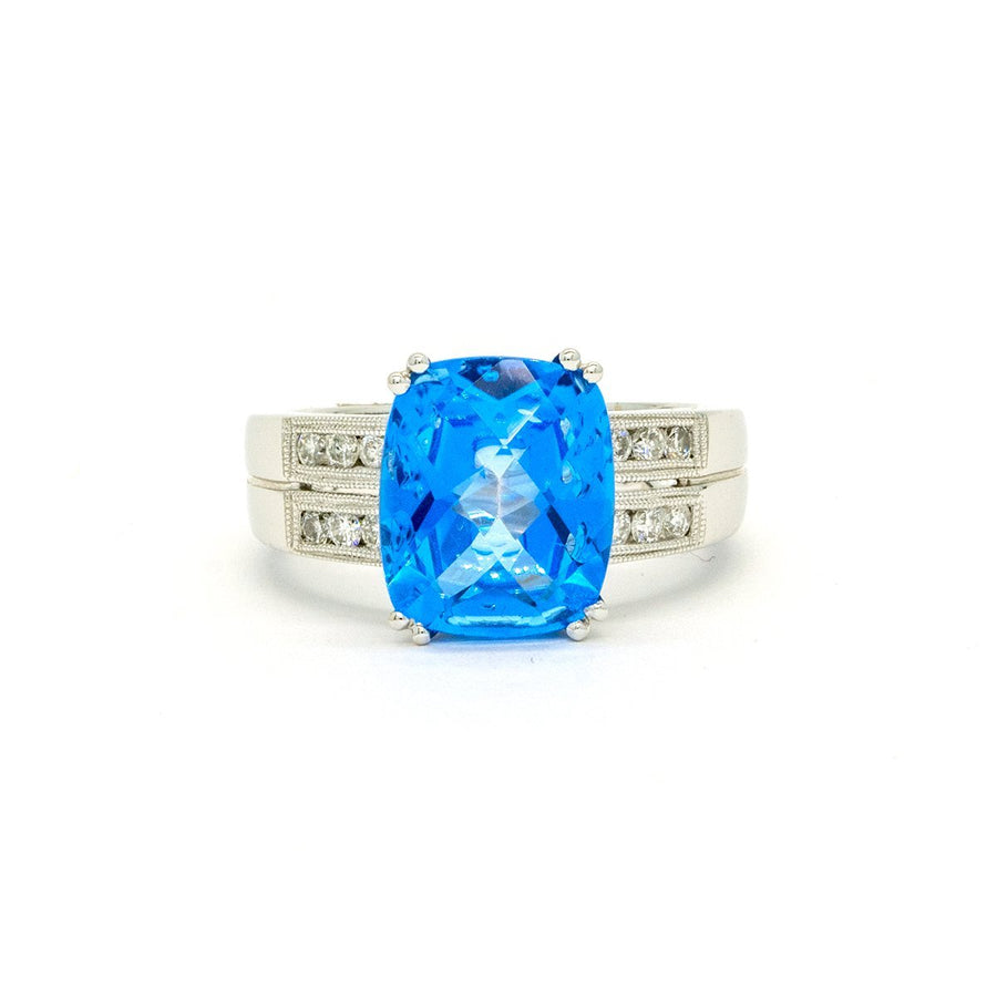 14KT White Gold 6.02CTW Cushion Cut Prong Set Blue Topaz and Diamond Ring - Giorgio Conti Jewelers