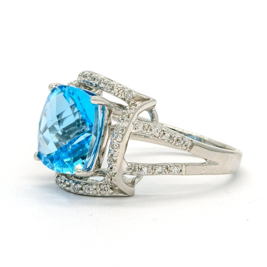 14KT White Gold 6.29CTW Faceted Top Cushion Cut Prong Set Natural Blue Topaz and Diamond Ring - Giorgio Conti Jewelers