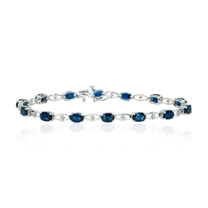 14kt White Gold 8.05ctw Large Natural Sapphire and Diamond Tennis Bracelet - Giorgio Conti Jewelers