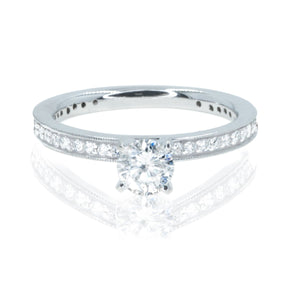 14KT White Gold .80CTW Diamond Engagement Wedding Ring With Pave Set Accent Diamonds - Giorgio Conti Jewelers