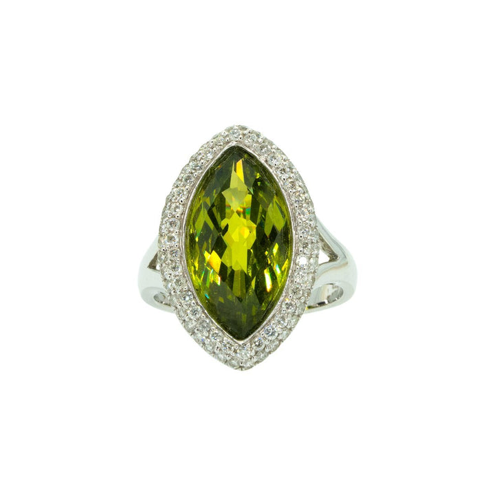 14KT White Gold 9.88ctw Round Cut Diamond and Marquise Cut Peridot Gemstone Ring - Giorgio Conti Jewelers