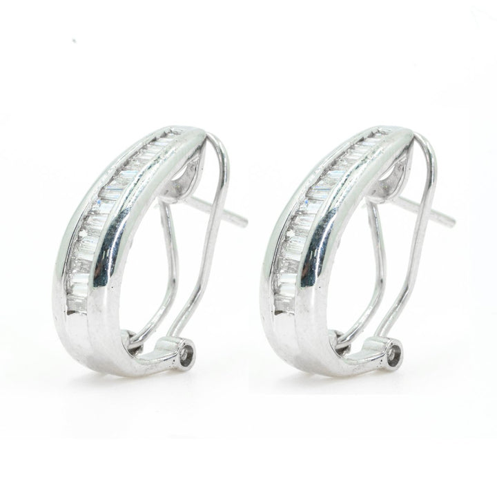 14Kt White Gold Channel Set Baguette Diamond Hoop Earrings With French Clip - Giorgio Conti Jewelers