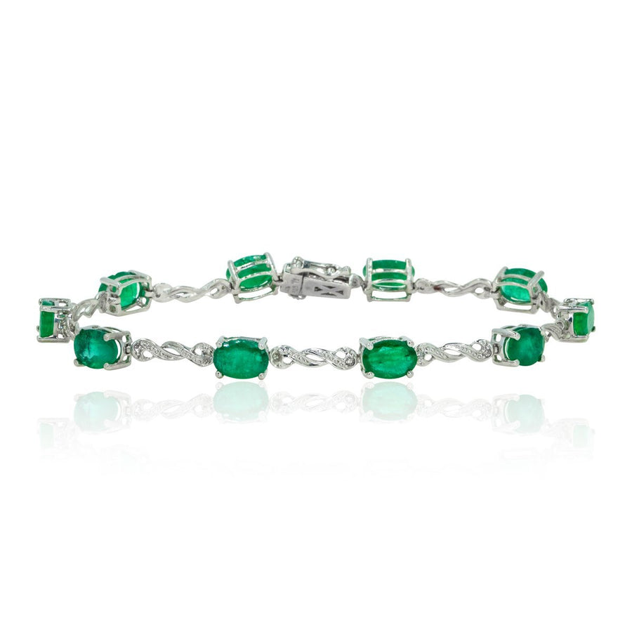 14kt White Gold Classic Oval Cut 7.69ctw Natural Green Emerald and Diamond Tennis Bracelet - Giorgio Conti Jewelers