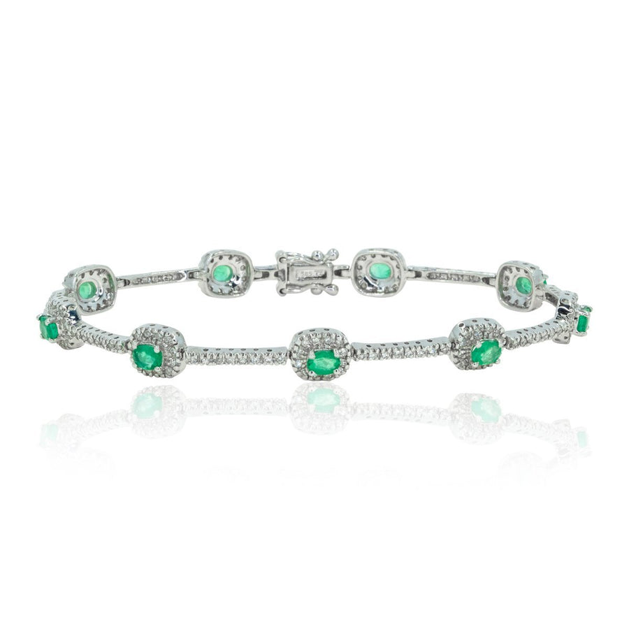 14kt White Gold Classic Oval Cut Colombia Emerald 2.14ctw Natural Green Emerald and Diamond Tennis Bracelet - Giorgio Conti Jewelers