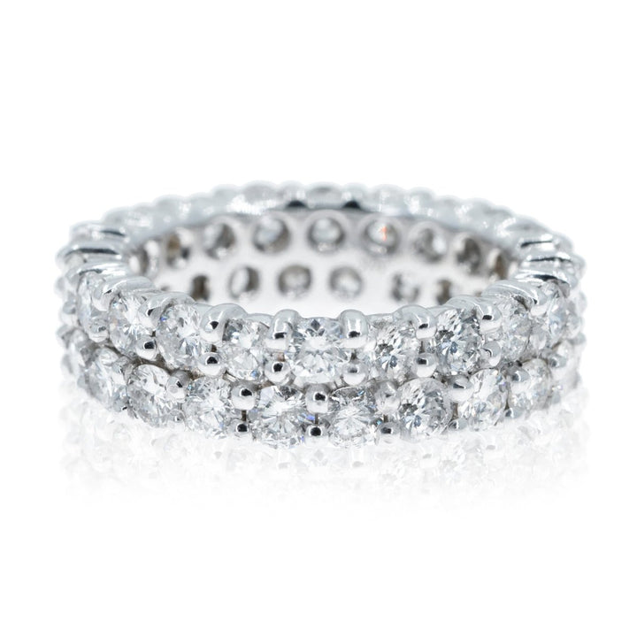 14KT White Gold Double Row Round Diamond Eternity Ring 4.65ctw and 3.50ctw - Giorgio Conti Jewelers