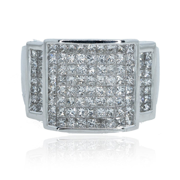 14KT White Gold Invisible 3.70CTW Diamond Mens Ring - Giorgio Conti Jewelers