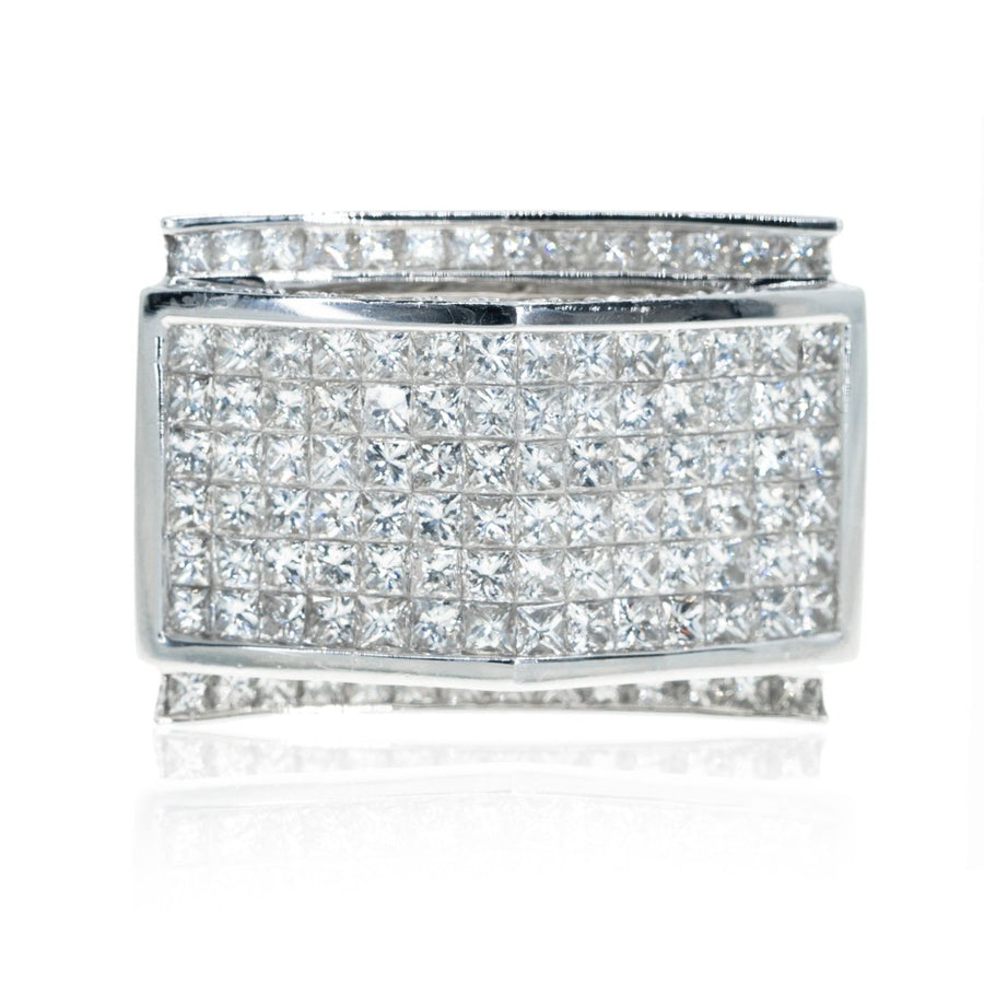 14KT White Gold Invisible 8.50CTW Diamond Mens Ring - Giorgio Conti Jewelers