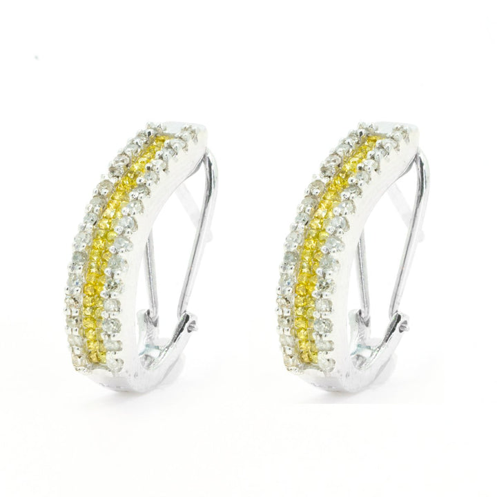 14Kt White Gold Invisible Set / Prong Set Princess Cut and Round White / Yellow Diamond Hoop Earrings With French Clip - Giorgio Conti Jewelers