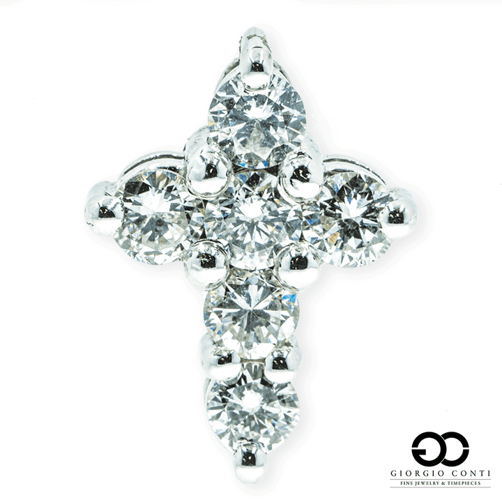 14KT White Gold Life Diamond Cross Pendant - Giorgio Conti Jewelers