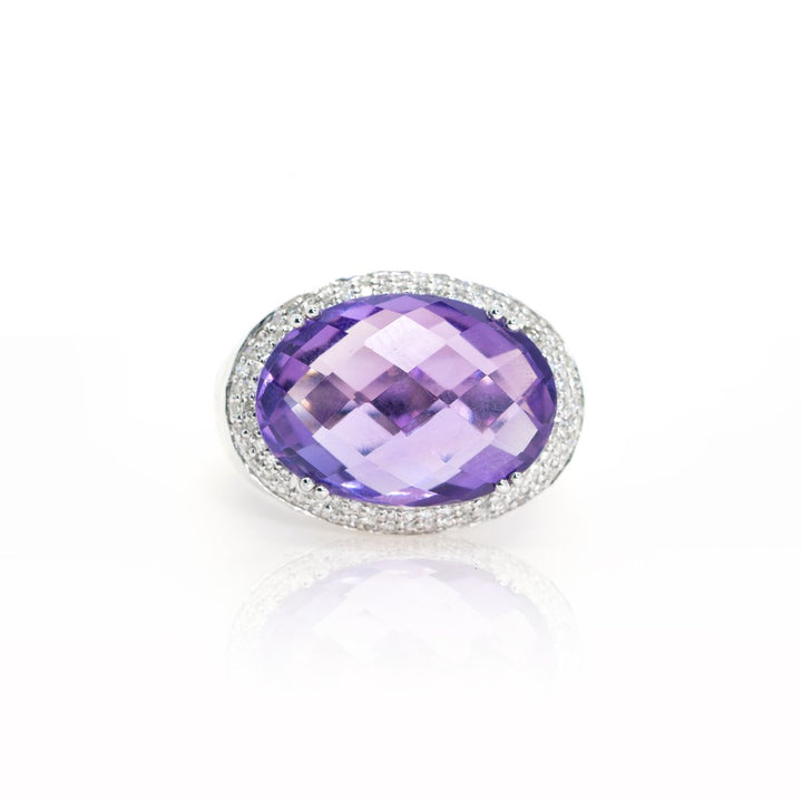 14kt White Gold Modern 12.89ctw Natural Amethyst and Diamond Hammered Statement Gemstone Ring - Giorgio Conti Jewelers