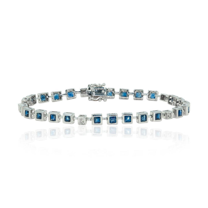 14kt White Gold Modern Princess Cut 3.87ctw Natural Sapphire and Diamond Tennis Bracelet - Giorgio Conti Jewelers