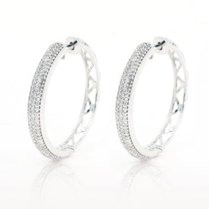 14kt White Gold Multi Row Pave Natural .50ctw Diamond Earrings - Giorgio Conti Jewelers