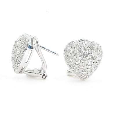 14KT White Gold Multi Row Pave Natural Diamond Heart Stud Earrings with French Clips - Giorgio Conti Jewelers