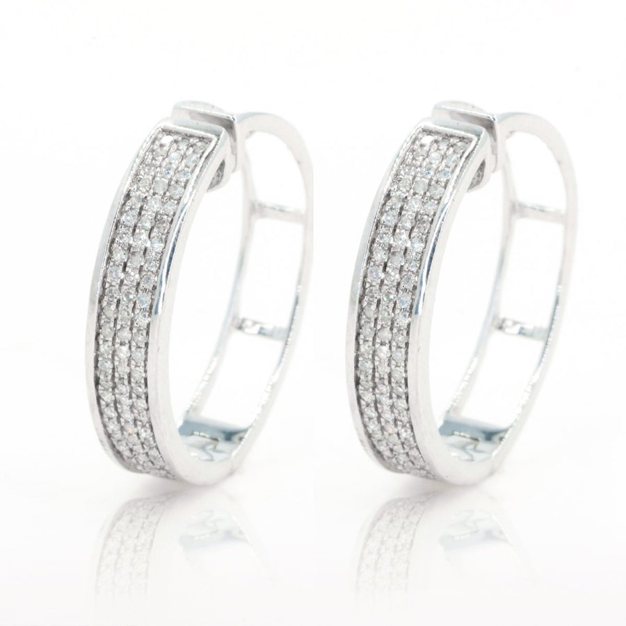 14kt White Gold Multi Row Pave Ticker Natural .50ctw Diamond Earrings - Giorgio Conti Jewelers