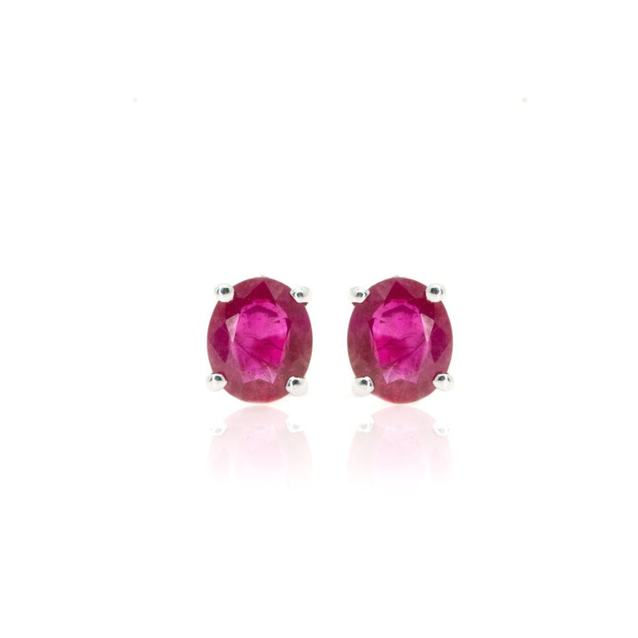 14kt White Gold NATURAL 1.53ctw Oval Ruby Gemstone Stud Earrings - Giorgio Conti Jewelers