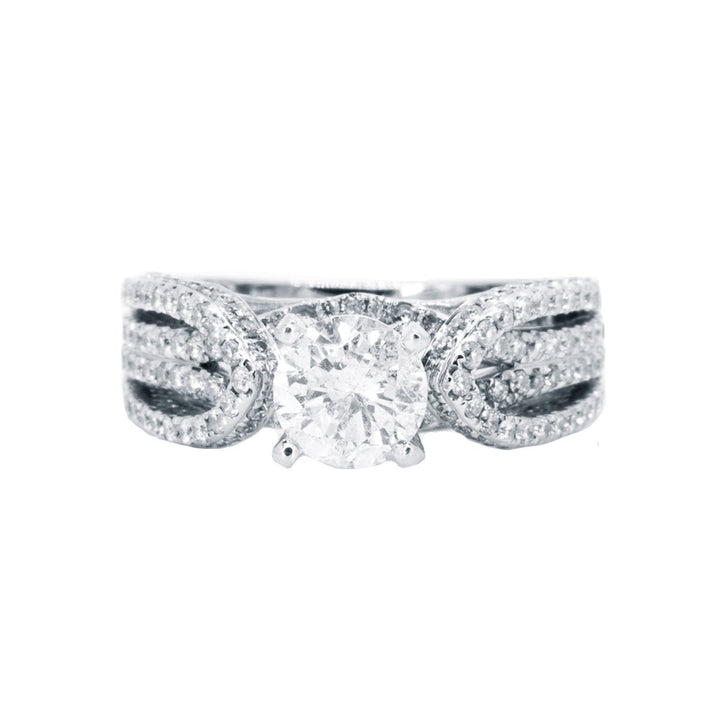 14Kt White Gold NATURAL 2.30ctw Round Diamond Engagement Wedding Ring - Giorgio Conti Jewelers