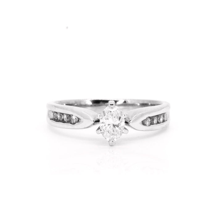 14kt White Gold NATURAL F-VS .72ctw Oval Diamond Engagement Wedding Ring - Giorgio Conti Jewelers