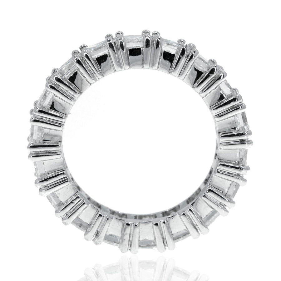 14KT White Gold Princess Diamond Eternity Ring Prong Set Wedding Band - Giorgio Conti Jewelers