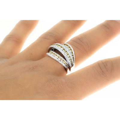 14KT White Gold White And Canary Yellow Diamond Wrap Ring Band - Giorgio Conti Jewelers