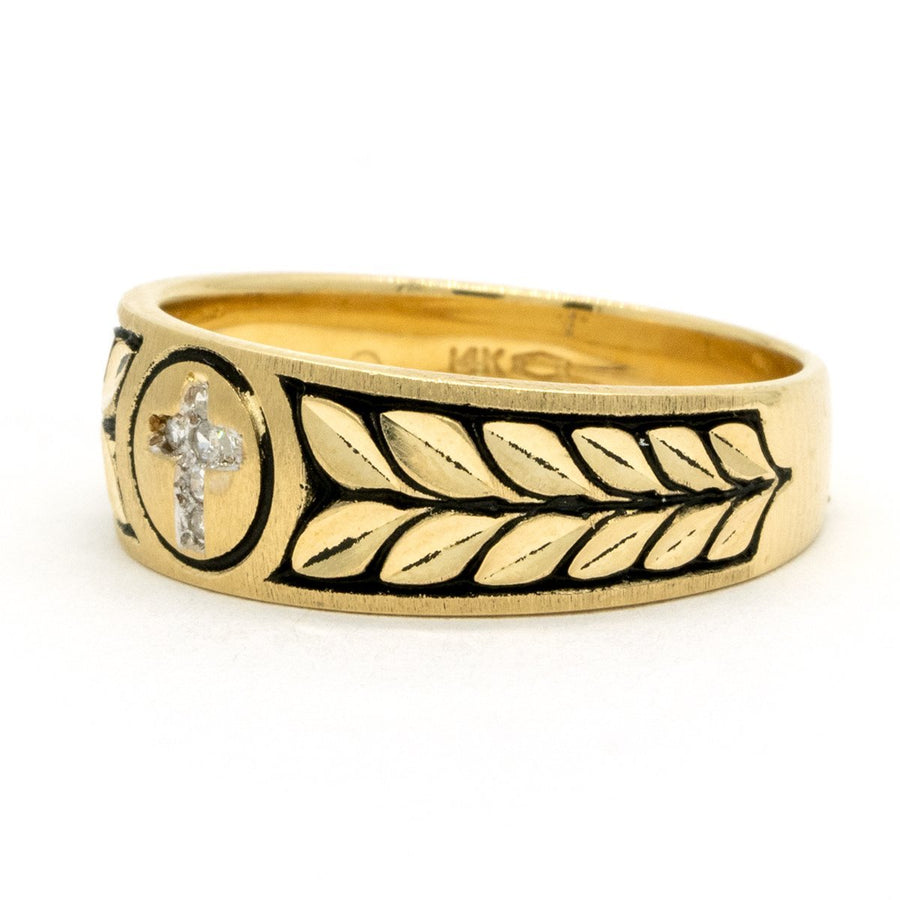 14KT Yellow Gold 0.05CTW Round Brilliant Cut Pave Set Natural Diamond Gold Wedding Band - Giorgio Conti Jewelers