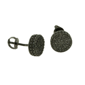 14KT Yellow Gold 0.30ctw Round Cut Pave Set Black Diamond Round Earrings - Giorgio Conti Jewelers