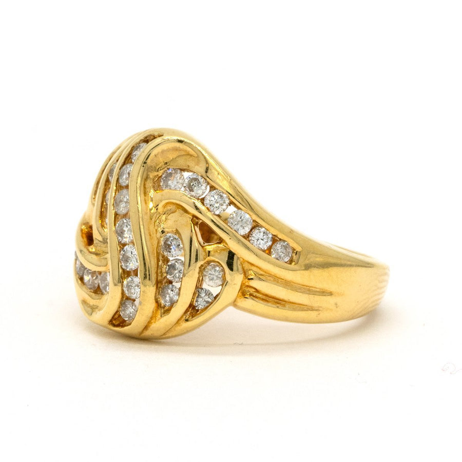 14KT Yellow Gold 0.51CTW Round Brilliant Cut Channel Set Natural Diamond Cocktail Ring - Giorgio Conti Jewelers