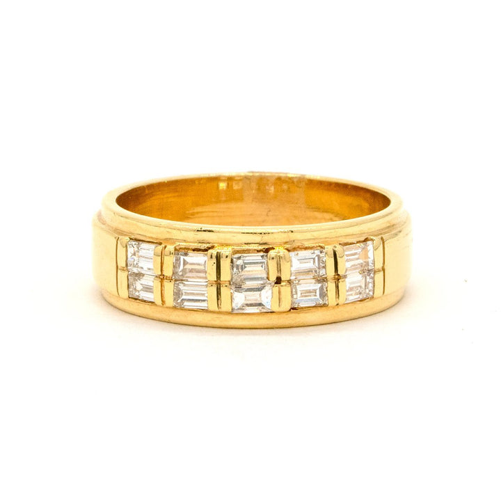 14KT Yellow Gold 0.54CTW Baguette Cut Channel Set Natural Diamond Cocktail Ring - Giorgio Conti Jewelers