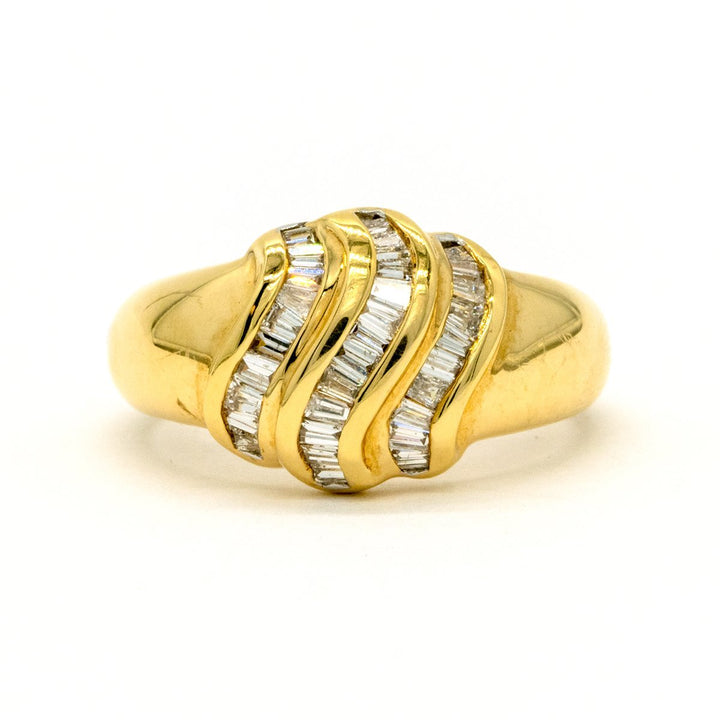14KT Yellow Gold 0.57CTW Baguette Cut Channel Set Natural Diamond Cocktail Ring - Giorgio Conti Jewelers