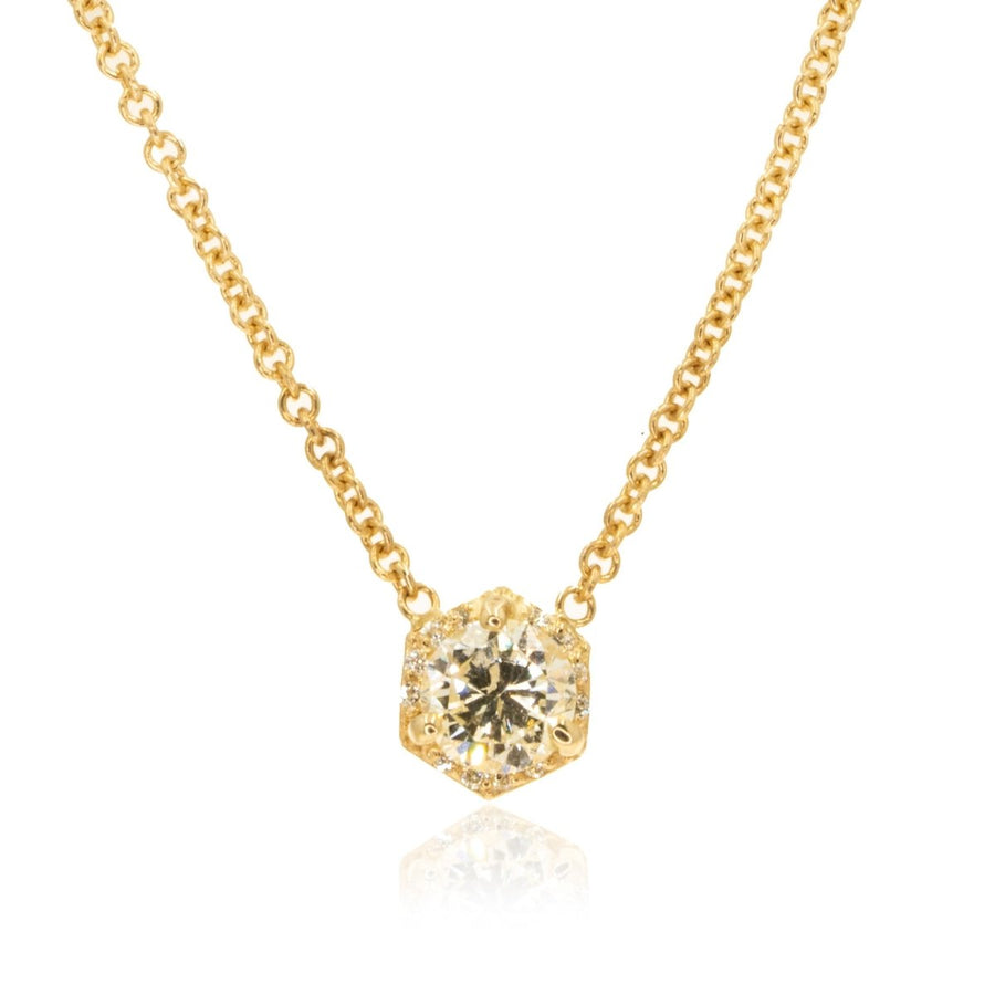 14KT Yellow Gold 0.58CTW Hexagon Halo Pendant Necklace - Giorgio Conti Jewelers
