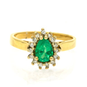 14KT Yellow Gold 0.79ctw Pear Cut Prong Set Emerald And Round Cut Diamond Halo Ring - Giorgio Conti Jewelers