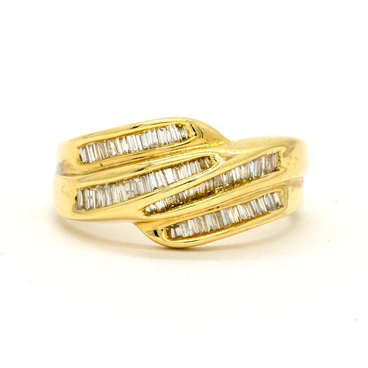14KT Yellow Gold 0.80CTW Baguette Cut Channel Set Natural Diamond Cocktail Ring - Giorgio Conti Jewelers