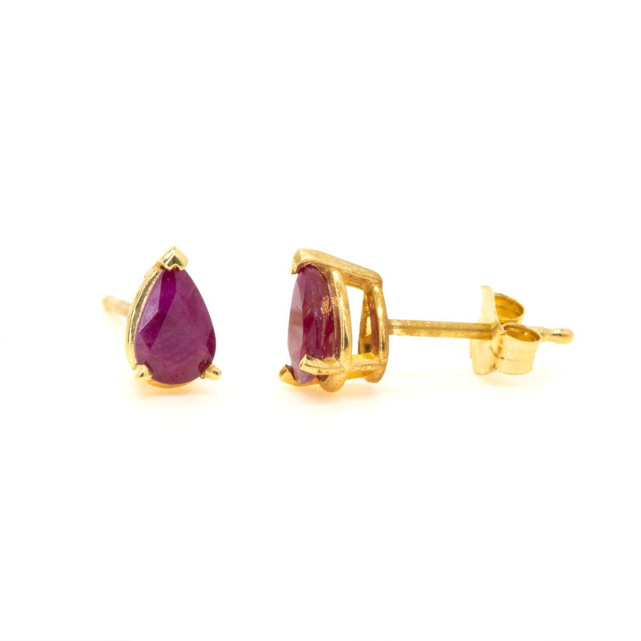 14kt Yellow Gold 1.00ctw NATURAL Pear Shape Ruby Stud Earrings - Giorgio Conti Jewelers
