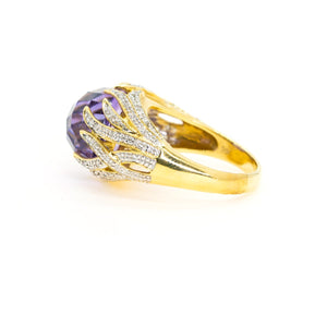 14kt Yellow Gold 10.48ctw Natural Amethyst and Diamond Pave Statement Gemstone Ring - Giorgio Conti Jewelers