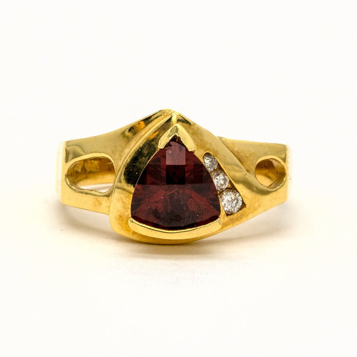 14KT Yellow Gold 1.07CTW Trillion Cut Channel Set Faceted Top Natural Red Garnet and Diamond Ring - Giorgio Conti Jewelers