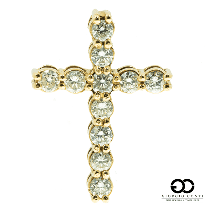 14KT Yellow Gold 11 Diamond Cross Pendant - Giorgio Conti Jewelers