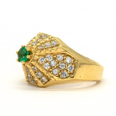 14KT Yellow Gold 1.14CTW Round Brilliant Cut Prong Set Natural Emerald and Diamond Ring - Giorgio Conti Jewelers