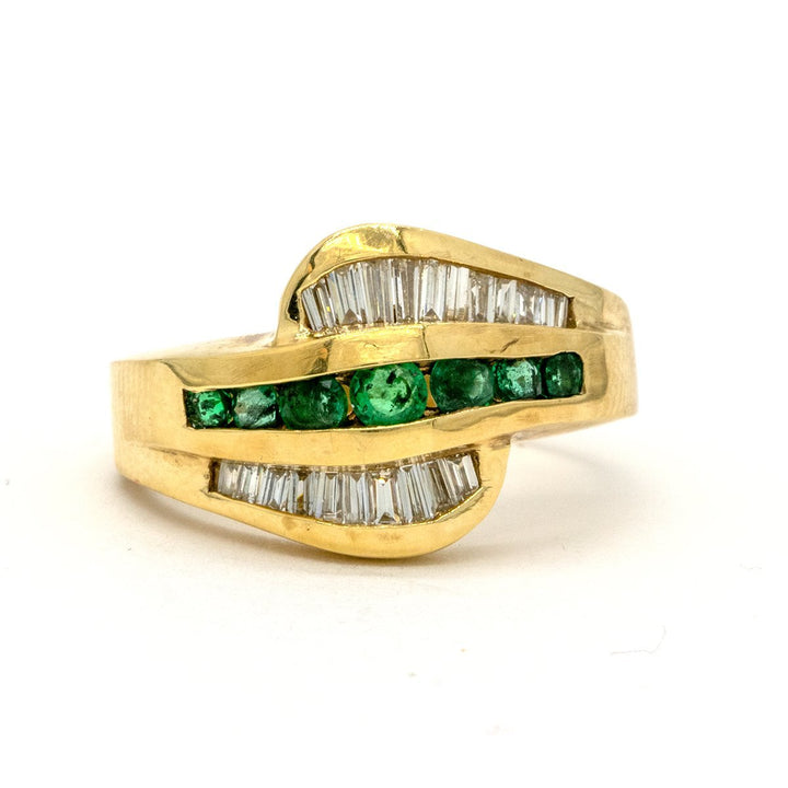 14KT Yellow Gold 1.17CTW Round Brilliant Cut Channel Set Natural Emerald and Diamond Band - Giorgio Conti Jewelers