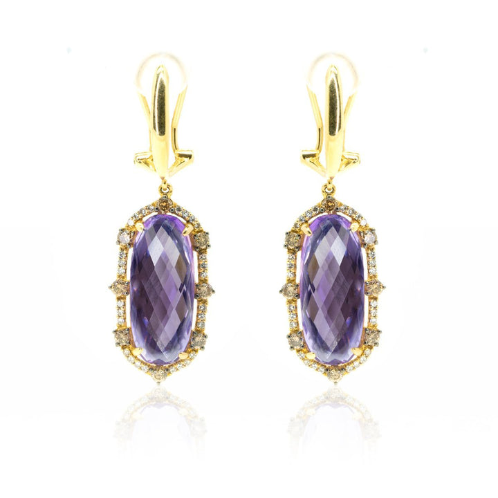 14kt Yellow Gold 13.03ctw Very Fine NATURAL Amethyst Gemstone Diamond Dangle Drop Statement Earrings - Giorgio Conti Jewelers