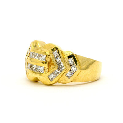 14KT Yellow Gold 1.32CTW Princess Cut Channel Set Natural Diamond Band - Giorgio Conti Jewelers