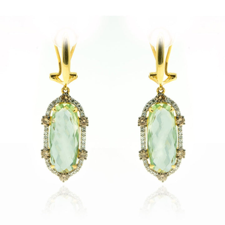 14kt Yellow Gold 13.63ctw Very Fine NATURAL Green Prasiolite Gemstone Diamond Dangle Drop Statement Earrings Bezel Set - Giorgio Conti Jewelers
