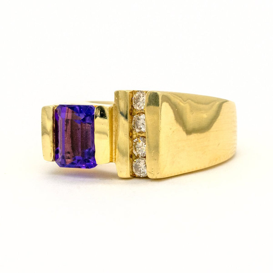 14KT Yellow Gold 1.37CTW Emerald Cut Channel Set Natural Amethyst and Diamond Ring - Giorgio Conti Jewelers