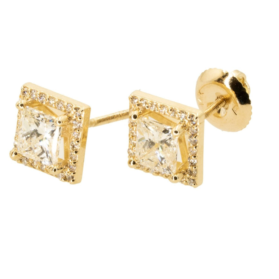 14KT Yellow Gold 1.38CTW Princess Halo Stud Earrings - Giorgio Conti Jewelers