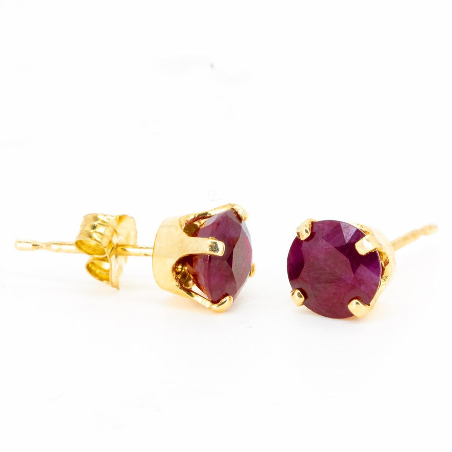 14kt Yellow Gold 1.50ctw NATURAL Round Cut Ruby Gemstone Stud Earrings - Giorgio Conti Jewelers