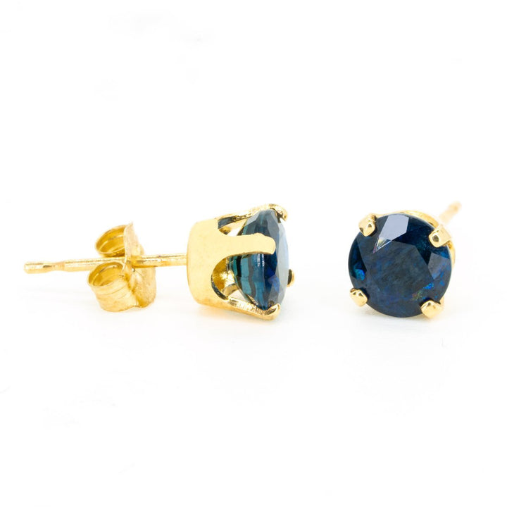 14kt Yellow Gold 1.50ctw NATURAL Round Cut Sapphire Gemstone Stud Earrings - Giorgio Conti Jewelers
