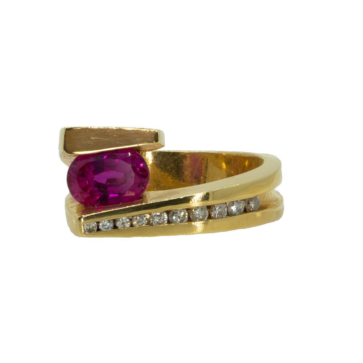 14KT Yellow Gold 1.96ctw Pink Sapphire and Diamond Band - Giorgio Conti Jewelers