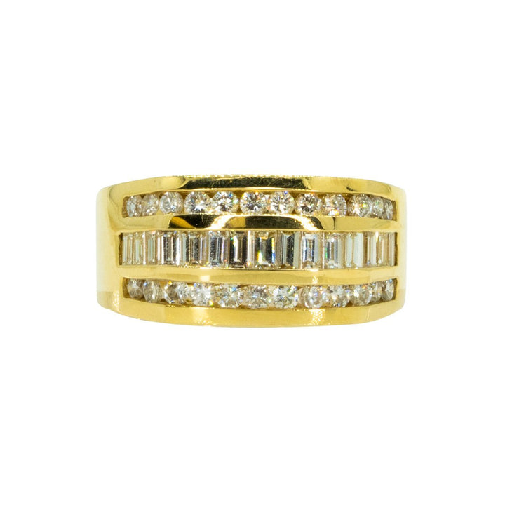 14KT Yellow Gold 2.25ctw Round and Baguette Cut Diamond Band - Giorgio Conti Jewelers