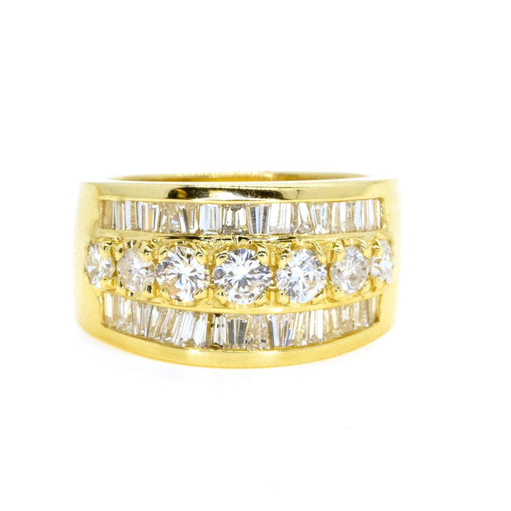 14KT Yellow Gold 2.50ctw Round and Baguette Diamond Band - Giorgio Conti Jewelers