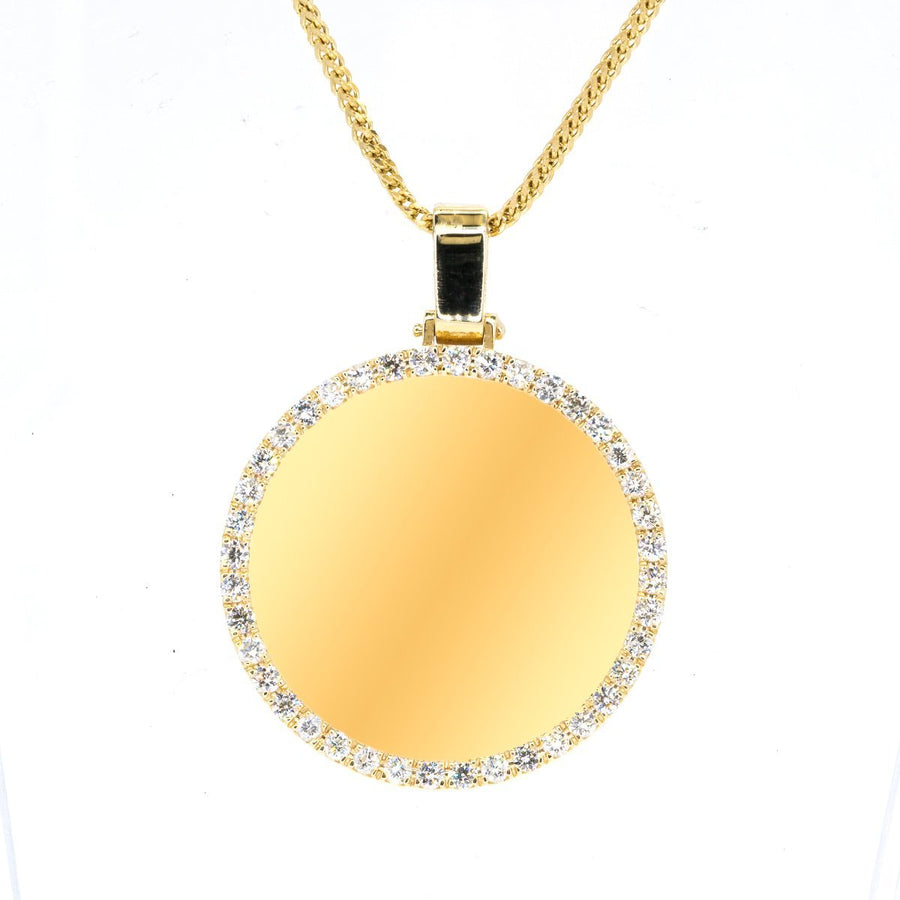 14KT Yellow Gold 2.70CTW Engraveable Diamond Pendant - Giorgio Conti Jewelers