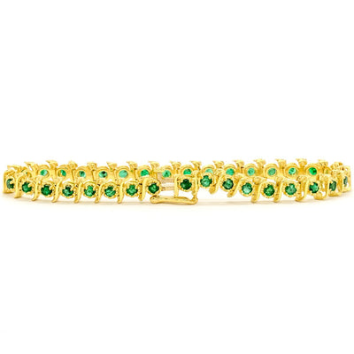 14KT Yellow Gold 2.81CTW Round Brilliant Cut Prong Set Natural Emerald Tennis Bracelet - Giorgio Conti Jewelers