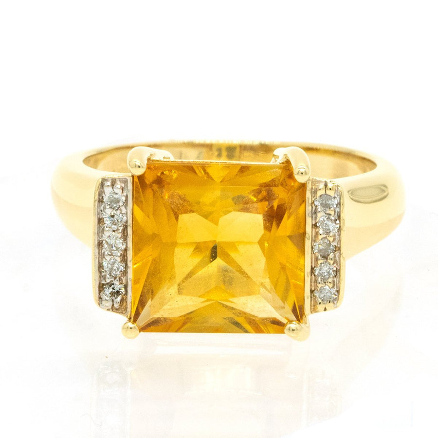 14KT Yellow Gold 4.10ctw Princess Cut Prong Set Citrine and Diamond Ring - Giorgio Conti Jewelers